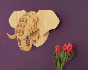 Faux taxidermy elephant head sculpture Faux animal head Bamboo elephant trophy head Fake animal head wall mount 3D puzzle