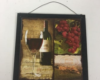 Red Wine And Grapes Wooden Kitchen Sign Bar Decor Decorations Wall Art Tuscan  Tuscany Vineyard Winery