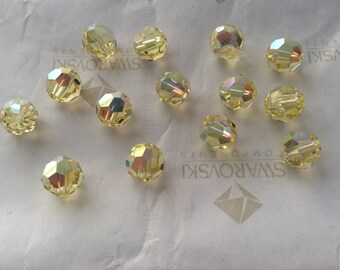 Swarovski #5000 Crystal Jonquil AB Round Ball Faceted Beads 5mm 6mm 8mm 10mm