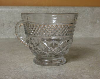 """One Punch/Tea/Coffee/Snack Cup in """"Wexford - Clear"""" by Anchor Hocking; Diamonds CrissCross Pattern; Sparkles; Vintage"""