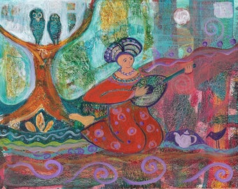 A Figure Plays a Lute, Has Tea, While Two Owls Sit in a Tree. Print of original painting. http://www.judithbirdart.com/