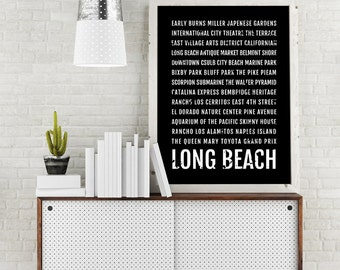 Long Beach Print, California Subway Sign Poster, LBC Wall Art, Décor, Canvas, Gift, Bus Scroll, Typography, Minimal, Custom, Personalized