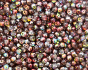 3mm Crystal Magic Wine Czech Glass Druk Beads, 3077, Crystal Magic Wine 3mm Smooth Round Beads, 50 Beads