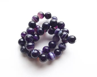 38 round faceted 10 mm purple agate PLYO 600