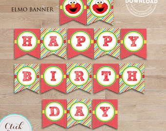 Elmo Birthday Banner, Printable Sesame Birthday party decorations, Party supplies INSTANT Download