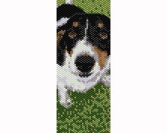 Happy Dog Peyote Bead Pattern, Bracelet Cuff, Bookmark, Seed Beading Pattern Miyuki Delica Size 11 Beads - PDF Instant Download