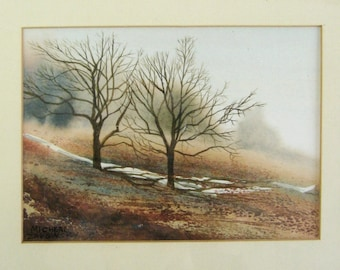 Misty Grey Landscape Painting - 11x9 Watercolor Painting - Vintage Framed Art - Micheal Zarowsky Signed Original Art - Neutral Wall Decor