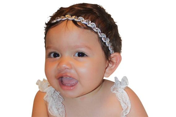 Silver Headband, First Newborn Headband, Headpiece Wedding, Baby Girls Headband, Baby Girls, Baby Headband, Infant Headbands, Newborn
