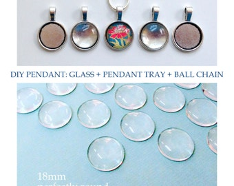 """Quantity 10 - DIY Pendant Kit - 18mm 3/4"""" clear glass dome- cabochon - Silver toned Pendant tray setting bezel - 24 inch plated ball chain"""