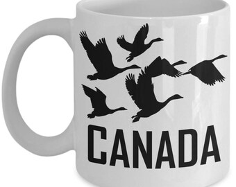 Canada Goose Coffee Mug Geese In Flight Silhouette Canadian Gift