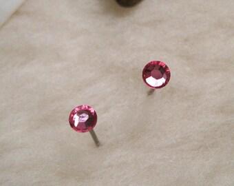 Niobium Stud Earrings - Rose Pink (2mm, 4mm or 5mm) - Hypoallergenic Earrings for Sensitive Ears // Nickel Free Post Earrings