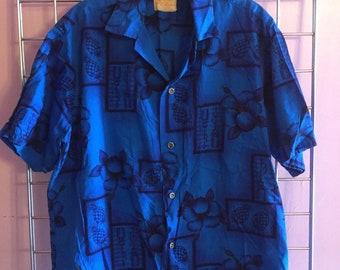 1960s Blue Hawaiian Shirt