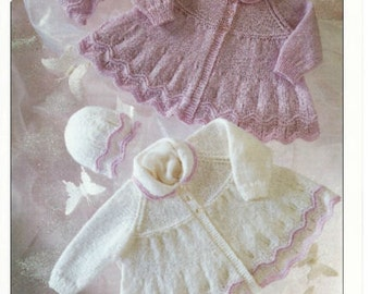 baby knitting pattern for stunning baby matinee jacket  dk  prem 12 in chest/20 in prem to 12 m