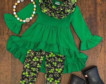 Irish green high low tunic 3piece scarf set St. Patrick's day! Free shipping USA