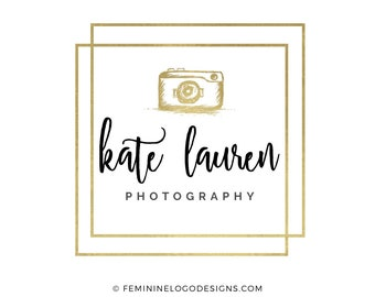 Photography logo, Gold logo, Feminine logo, Square logo, Watermark logo, Black and gold logo, Camera logo design,  Photographer logo gold