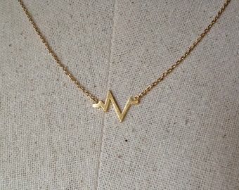 Gold Heartbeat Necklace, 14k Gold plated, Dainty Necklace