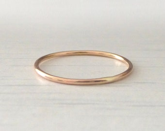 Rose Gold Ring - Skinny - Smooth - 9ct Rose Gold Band