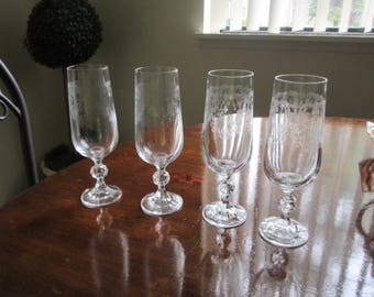 etched Cascade Bohemian Crystal ball stems Champagne Flutes 4-6oz wine glass es ,Red wine,White wine, goblets,ball stems, cut,lot