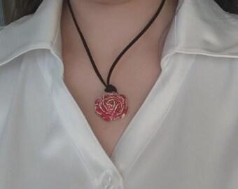 Red flower pendant, red oval pendant, glazed pendant, clay flower pendant, clay jewlery, 3d flower pendant, small flower pendant