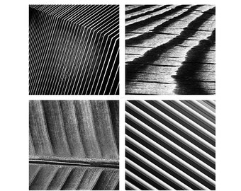 Photography gift set of four 5x5 prints - Neutral wall art - Striped lined monochrome photo artworks - Abstract images for Ikea Ribba