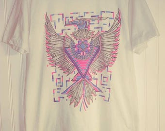 1990s Vintage Large Cotton White T Shirt with Blue, Purple, & Pink Glittery Aztec Eagle Southwestern Style