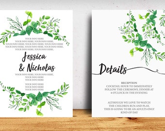 Greenery Save the Dates design, Floral custom Save the Dates available for custom colors of choice, name, info and photos