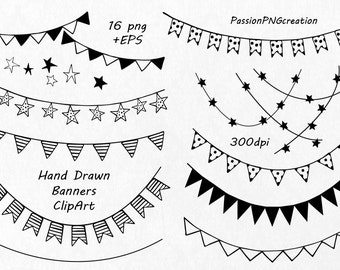 Hand Drawn Banners clipart, Banner Clip Art, PNG, EPS, Vector banners, ribbon clipart, Instant Download, For Personal and Commercial Use