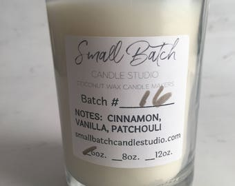 Coconut wax Candle/Cinnamon/Vanilla/Patchouli/Small Batch/Hand Poured/Gift Box/ 6oz./Gifts/Hostess Gifts/Holiday Gifts/