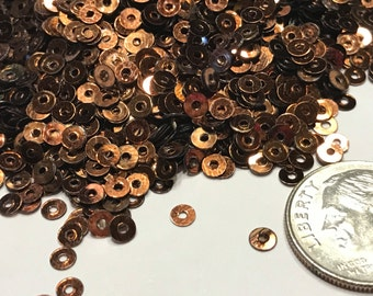 Tiny 3 mm copper color sequins (26)