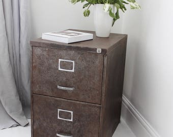 Blake Reclaimed Vintage Urban Industrial Chic 1950s Stripped Down and Distressed Bare Steel 3 Drawer Filing Cabinet with Silver Handles