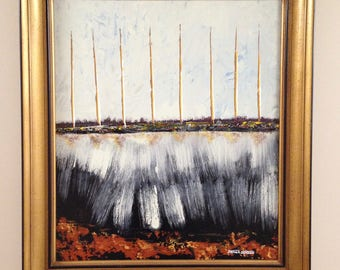 "ORIGINAL ""CITY ROOTS Abstract ""  - original Acrylic Painting with vintage wood frame   -    28.5"" X  32"""