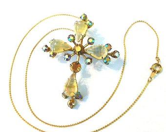 Opalescent MOONSTONE Cross, Goldtone Cross COMBO Brooch with AB Crystals, Gemstone Cross & Neck Chain, 1970s Cross Pendant/Brooch Necklace