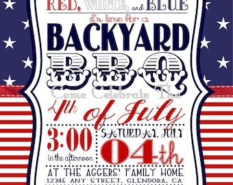 5 x 7 inch 4th of July Backyard Barbecue (BBQ) Invitation