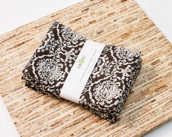 Large Cloth Napkins - Set of 4 - (N3907) - Calavera Damask Dark Brown Modern Reusable Fabric Napkins