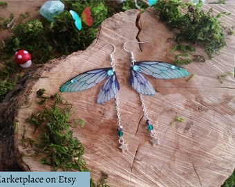 Magical Green, Blue and Turquoise Fairy wing earrings