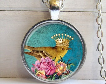 Bird Pendant, Bird With Crown Necklace, Art Pendant, Bird Jewelry