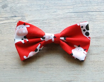 Cow, Cow Bow Tie, Red Bow, Farm, Animal Bow, Kids Bow Tie, Hairbow, Mens Bow Tie, Toddler Bow Tie, Hair Accessories