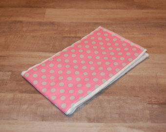 Pink with Gray Polka Dots Burp Rag - Ready to Ship