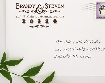 Custom Address Stamp, Self Ink Return Address Stamp, Self Inking Personalized Stamps, Wood Mounted Stamp, House Addressing, Two Name Stamp