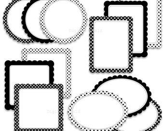 Digital Scalloped Labels - Frames and Borders Clip Art Set- black and white, polka dot printable digital clipart - instant download
