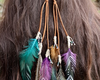 Feathered Head Piece/Hippy/Gypsy/Pagan