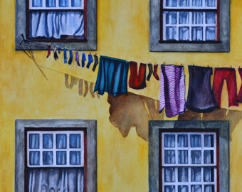 """Blowing in the Breeze,fine art giclee reproduction of original watercolor painting by Meike Geisler,11.75"""" x 14.5"""",laundry in the breeze"""