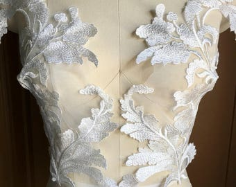 IVORY Beaded Lace Applique PAiR for Bridal Illusion Gowns, Boleros, Garments, Costume Design PR 328