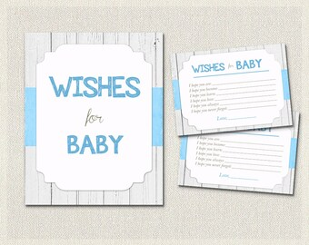 Wishes for Baby White Wood Blue Brown Boys Rustic Wood | Baby Wish Cards | Baby Shower Activities Boy Baby Shower BS-53