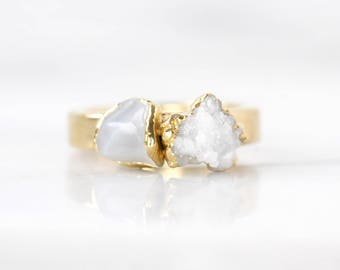 white druzy ring | moonstone stacking ring | raw moonstone ring | june birthstone ring | moonstone stacker ring | druzy stackable ring