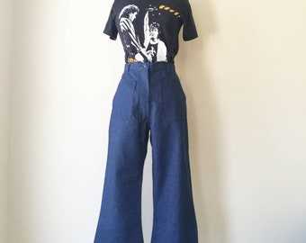 Vintage new old stock sailor jeans - high waisted jeans - bell bottoms W25'