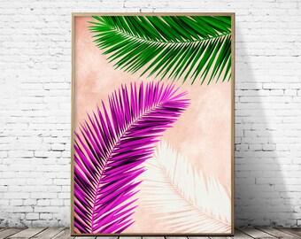 Palm leaf art, Palm leaf wall art, Palm tree, Palm tree print, palm print, palm, tropical leaf, tropical print, tropical art, tropical decor