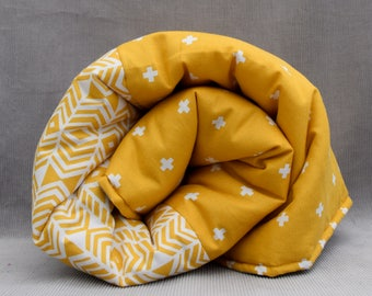 Contemporary baby/toddler play mat - mustard and cream
