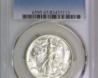 1935 Walking Liberty Half Dollar PCGS MS-65; Frosty White; Attractive Coin!