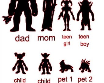 world of warcraft family car decal stickers mom dad son daughter pets horde family